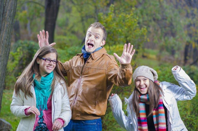 Amigos que juegan en el bosque foto de archivo libre de regalías