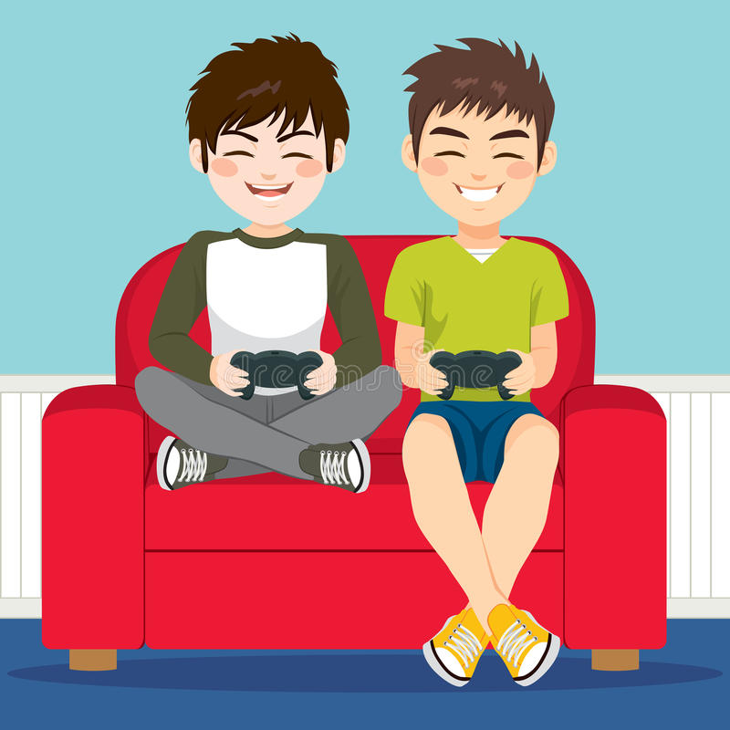 Amigos que juegan a los juegos video stock de ilustración