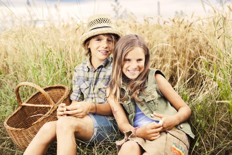 Amigos que meriendan en el campo junto en un campo del trigo imagen de archivo libre de regalías