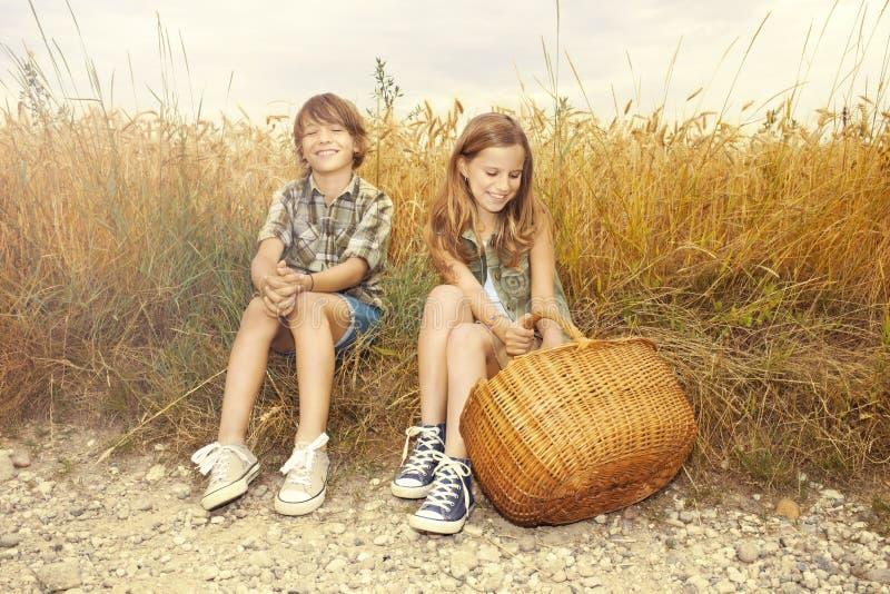 Amigos que meriendan en el campo junto en un campo del trigo fotografía de archivo
