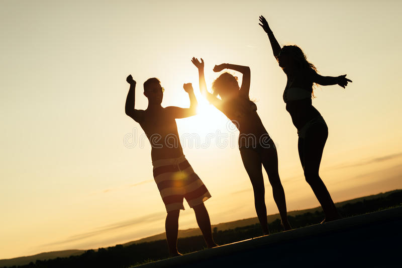 Amigos que partying durante o por do sol do verão imagens de stock