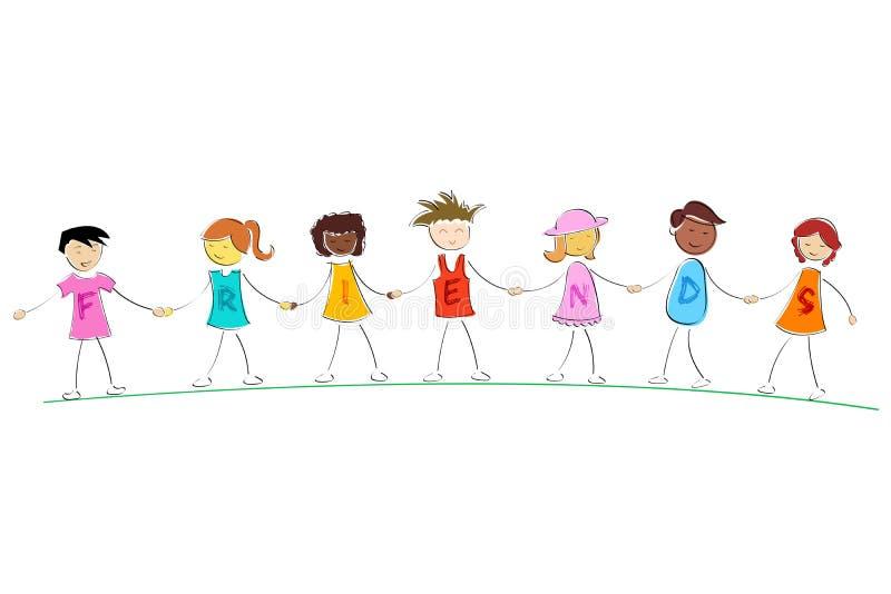 Amigos que prendem as mãos ilustração do vetor
