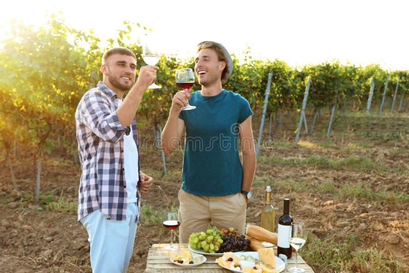 Amigos que provam o vinho e que têm o divertimento foto de stock