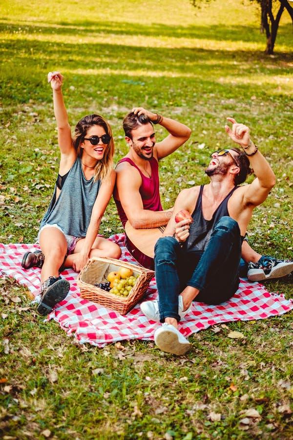 Amigos que ríen en una comida campestre en un parque fotografía de archivo
