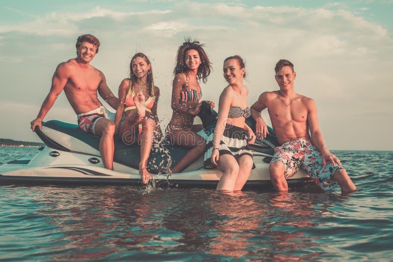 Amigos que se relajan en una playa imagen de archivo