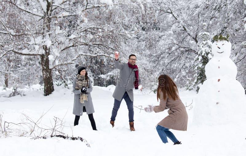Amigos que têm a luta da bola de neve fotografia de stock royalty free