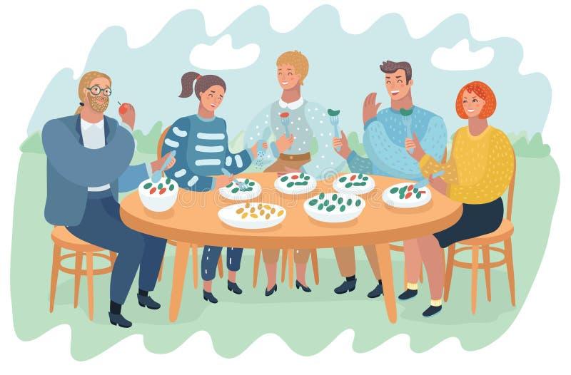 Amigos que têm o divertimento e que comem o alimento e beber ilustração royalty free