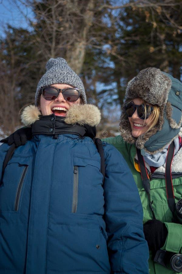 Amigos que têm o divertimento na paisagem nevado fotos de stock
