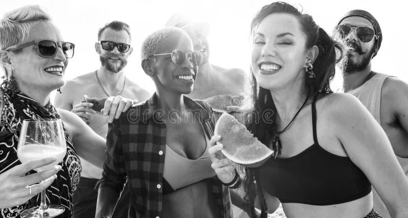 Amigos que têm o divertimento na praia foto de stock royalty free