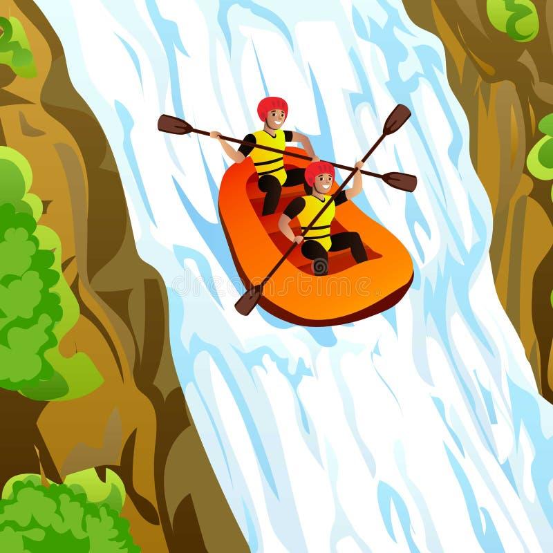 Amigos que transportam no fundo do conceito das montanhas, estilo dos desenhos animados ilustração royalty free