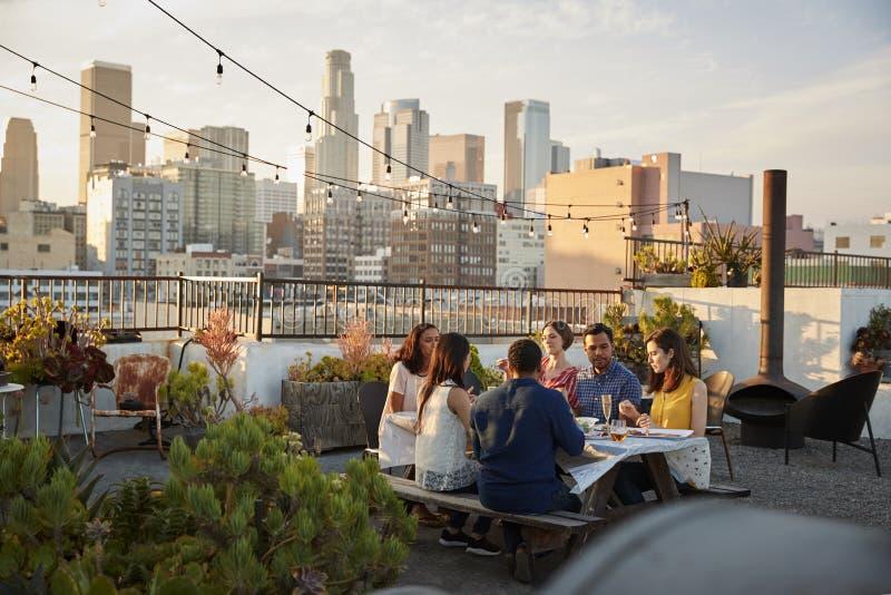 Amigos recolectados en la terraza del tejado para la comida con horizonte de la ciudad en fondo imagen de archivo libre de regalías