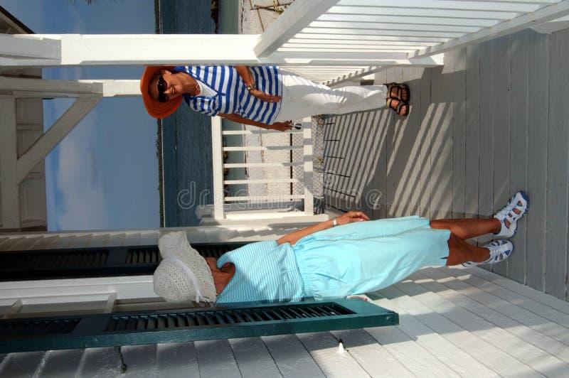 Amigos sênior na casa de praia imagens de stock