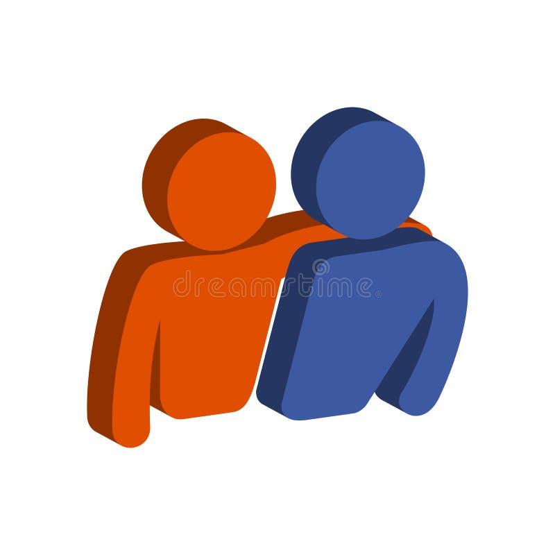 Amigos, símbolo da amizade Ícone ou logotipo isométrico liso ilustração royalty free