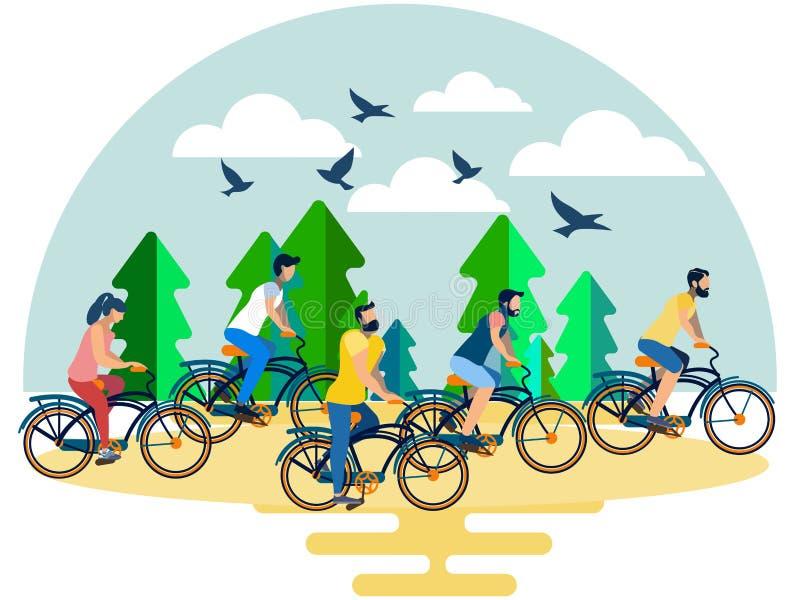 Amigos, um grupo de pessoas que monta suas bicicletas na floresta no estilo minimalista Isométrico liso ilustração stock