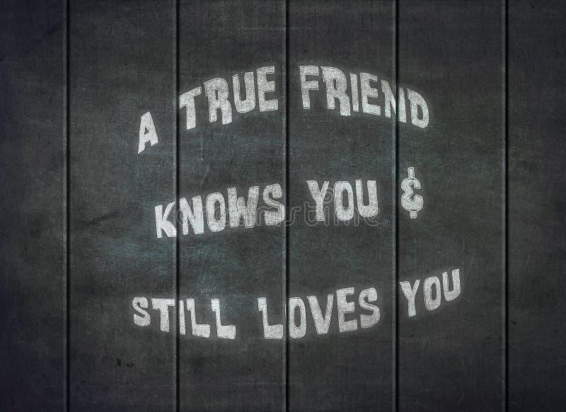 Amigos verdadeiros que compreendem o amor para aceitar a tipografia do bff imagens de stock
