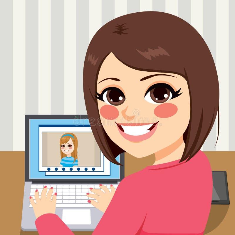 Amigos video de la llamada stock de ilustración