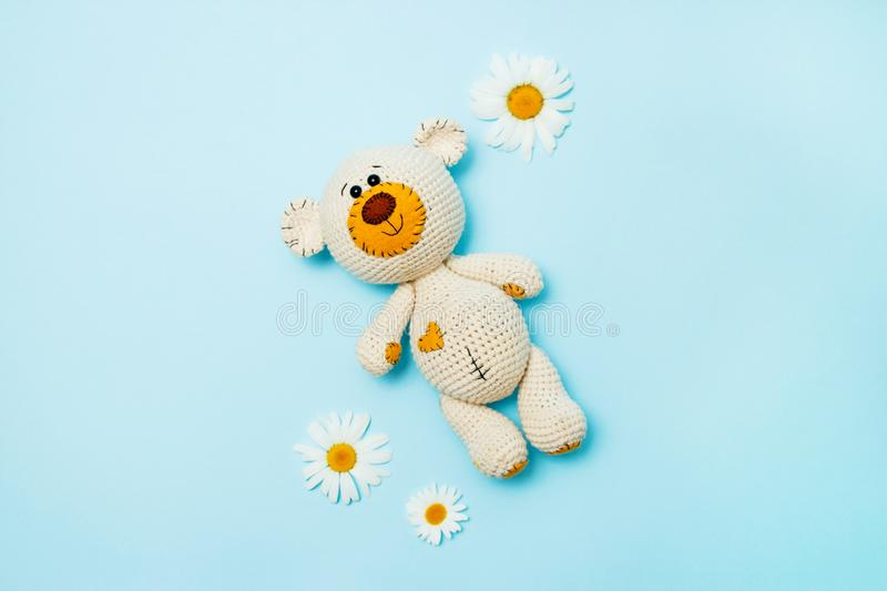 Amigurumi handmade teddy bear with daisies isolated on a blue background. Baby background. Copy space, top view stock photo