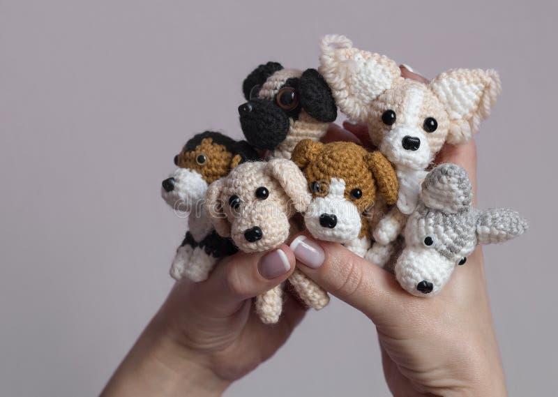 Amigurumi, nette kleine Hunde gehäkelt lizenzfreie stockfotografie