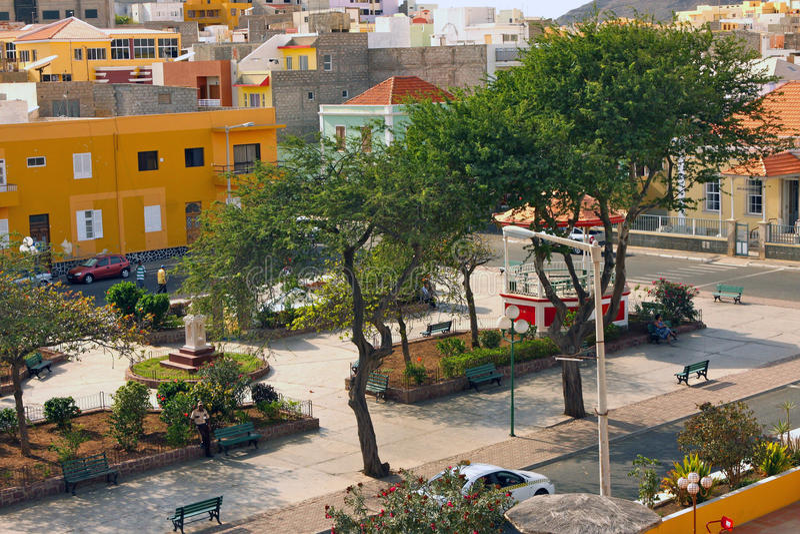 Amilcar Cabral广场在明德卢-佛得角 库存照片