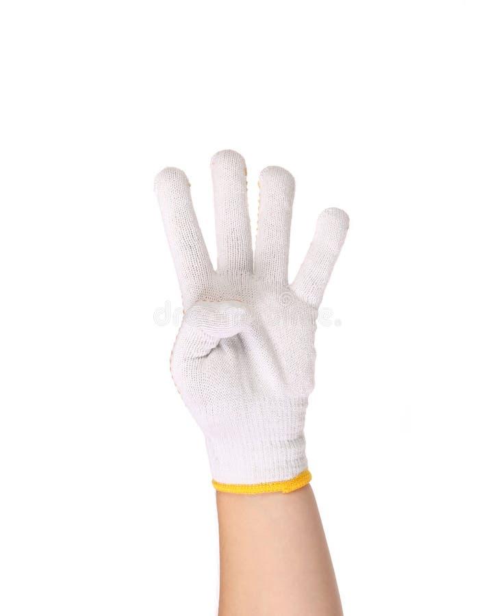 Amincissez les gants de travail montrant quatre doigts images libres de droits
