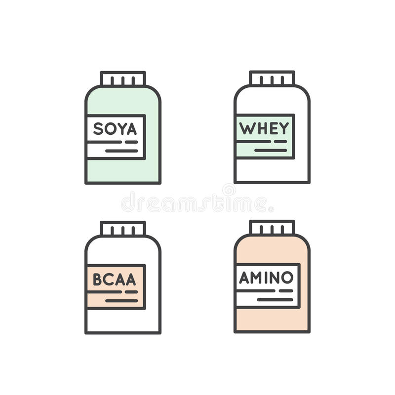 Amino, BCAA, proteína, paquete de la proteína de la soja libre illustration