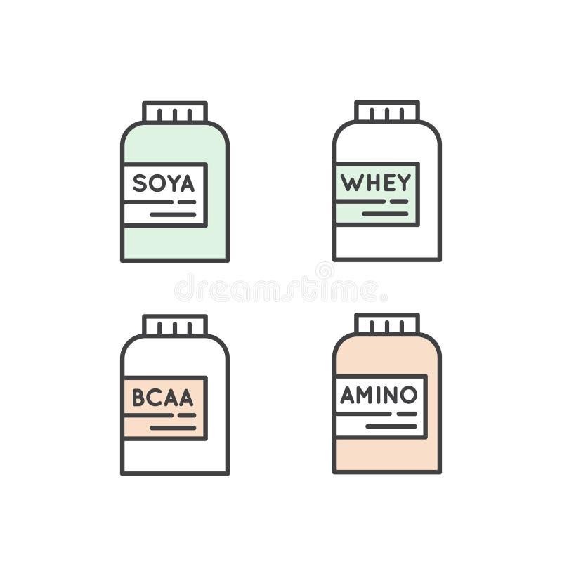Amino, BCAA, serwatki proteina, Soya proteiny paczka royalty ilustracja