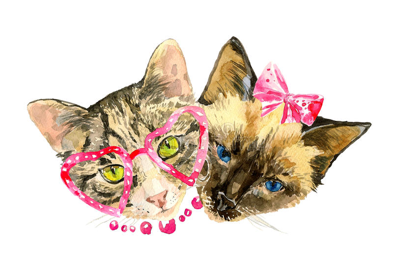 Amis à la mode de chats d'aquarelle d'isolement sur le fond blanc illustration stock