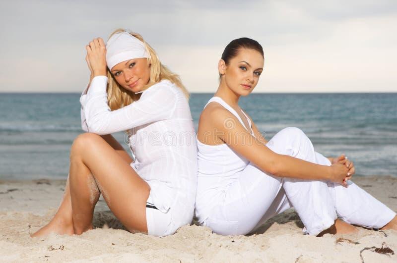 Amis à la plage image stock