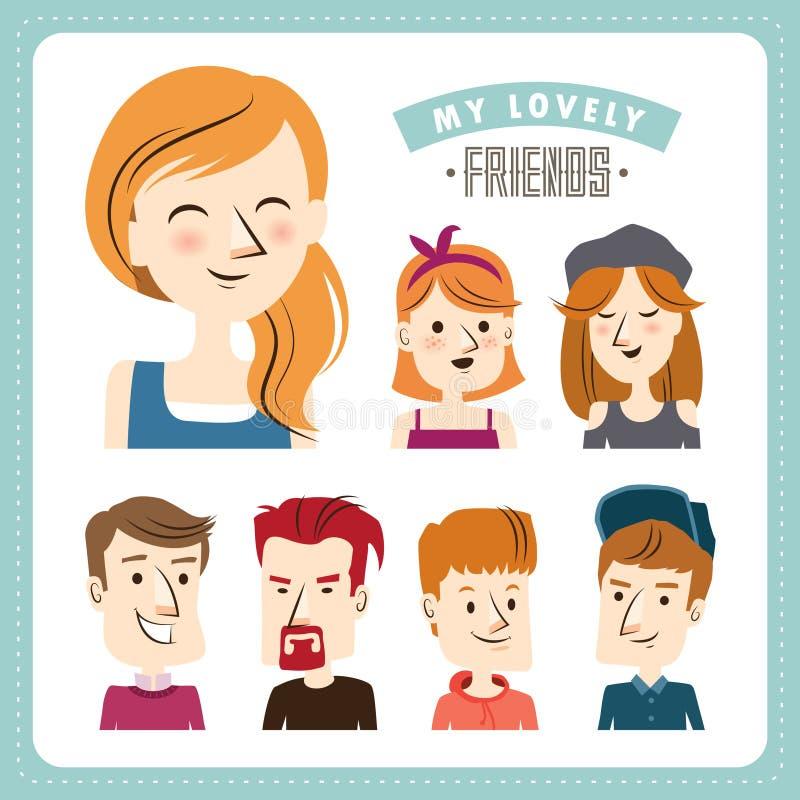 amis illustration de vecteur