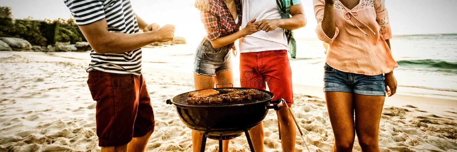 Amis ayant un barbecue image stock