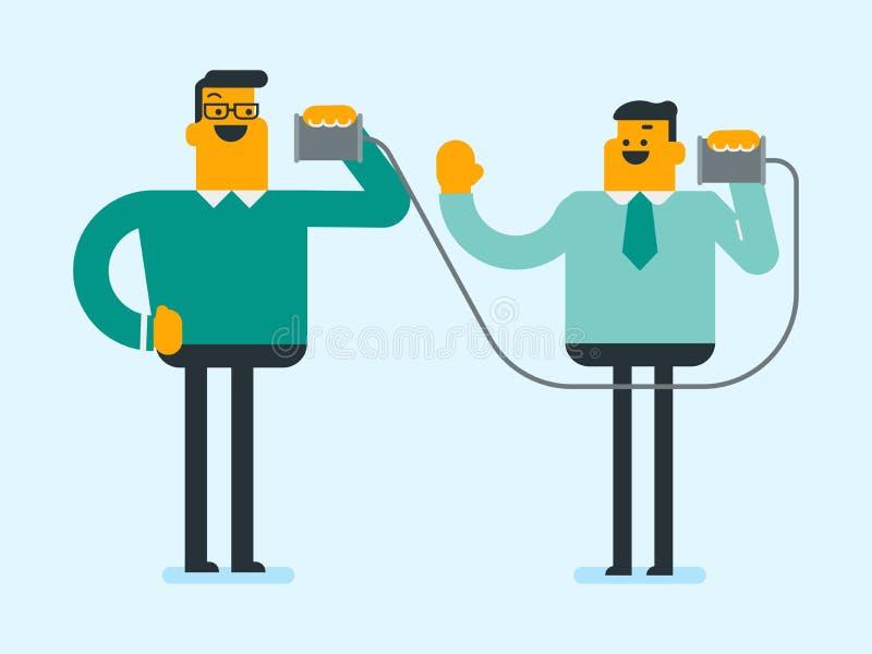 Amis blancs caucasiens parlant par le téléphone de bidon illustration stock