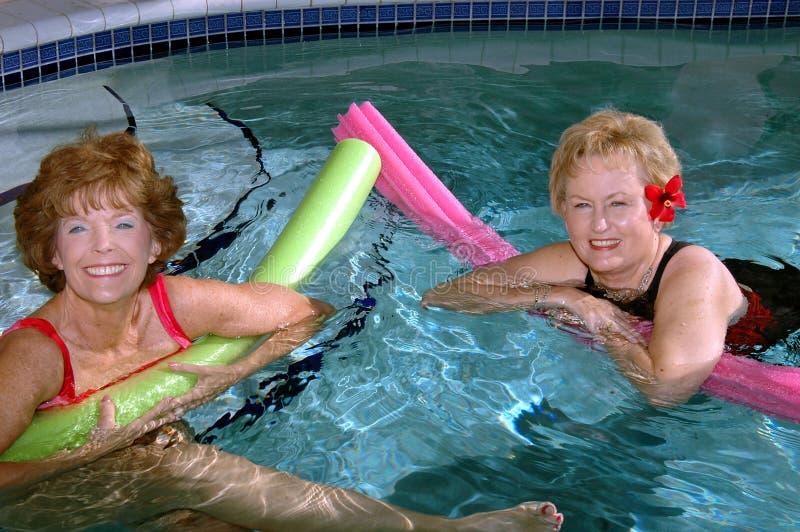 Amis d'aînés nageant photographie stock libre de droits