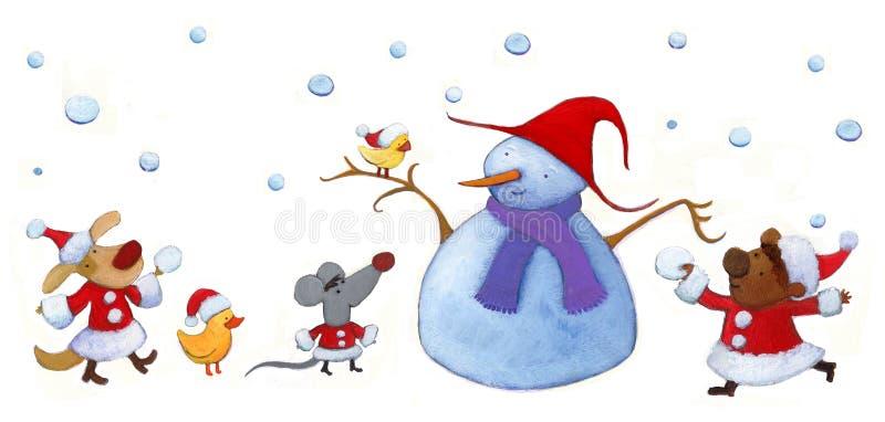 Amis d'animal de Santa illustration libre de droits
