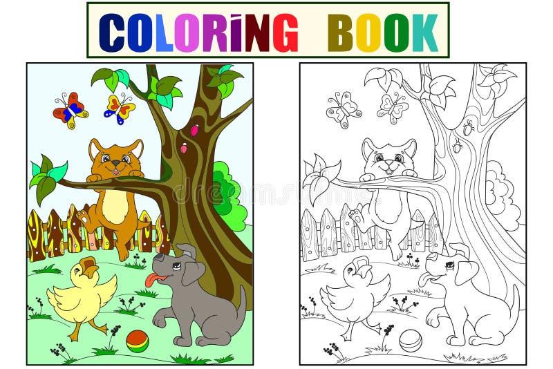 Amis d'animaux de bande dessinée de la couleur et de la coloration des enfants en nature Caneton, chiot et chaton Canard, chien e illustration libre de droits
