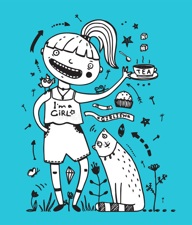 Amis de chat et d'oiseau de fille buvant du thé avec le gâteau illustration de vecteur