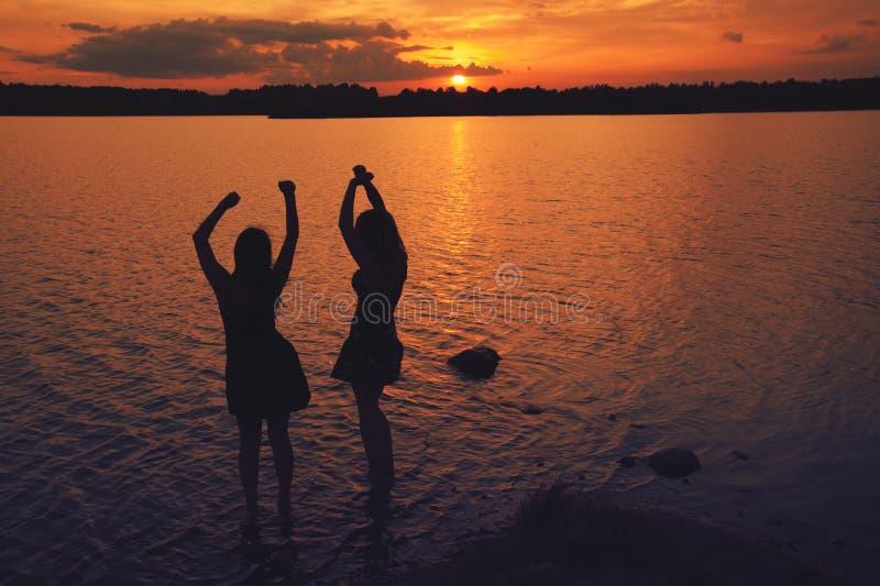 Amis de coucher du soleil photo libre de droits