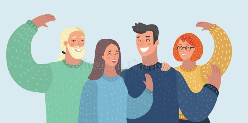 Amis de groupe d'avatars de personnes illustration de vecteur