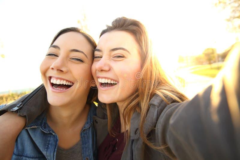 Amis drôles prenant des selfies au coucher du soleil images libres de droits