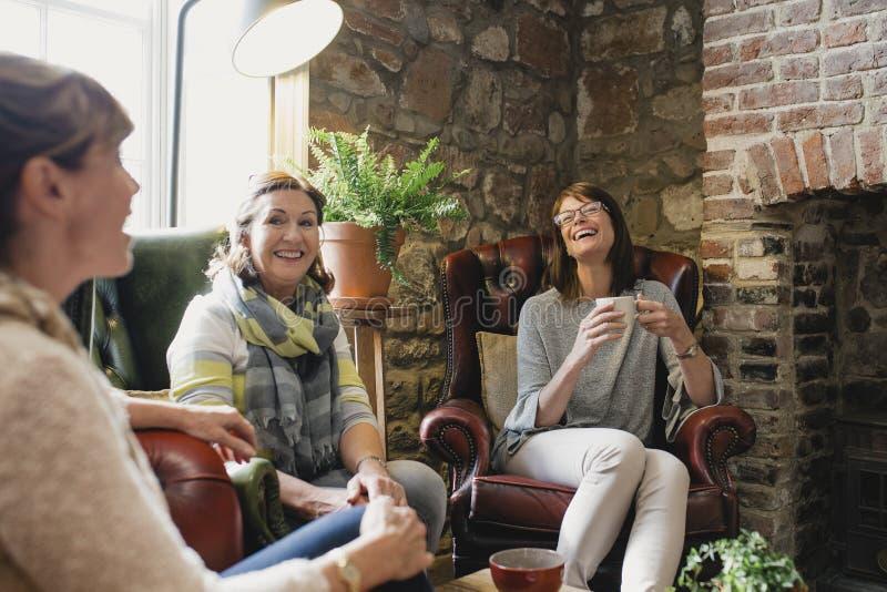 Amis féminins rattrapant au-dessus du café image libre de droits