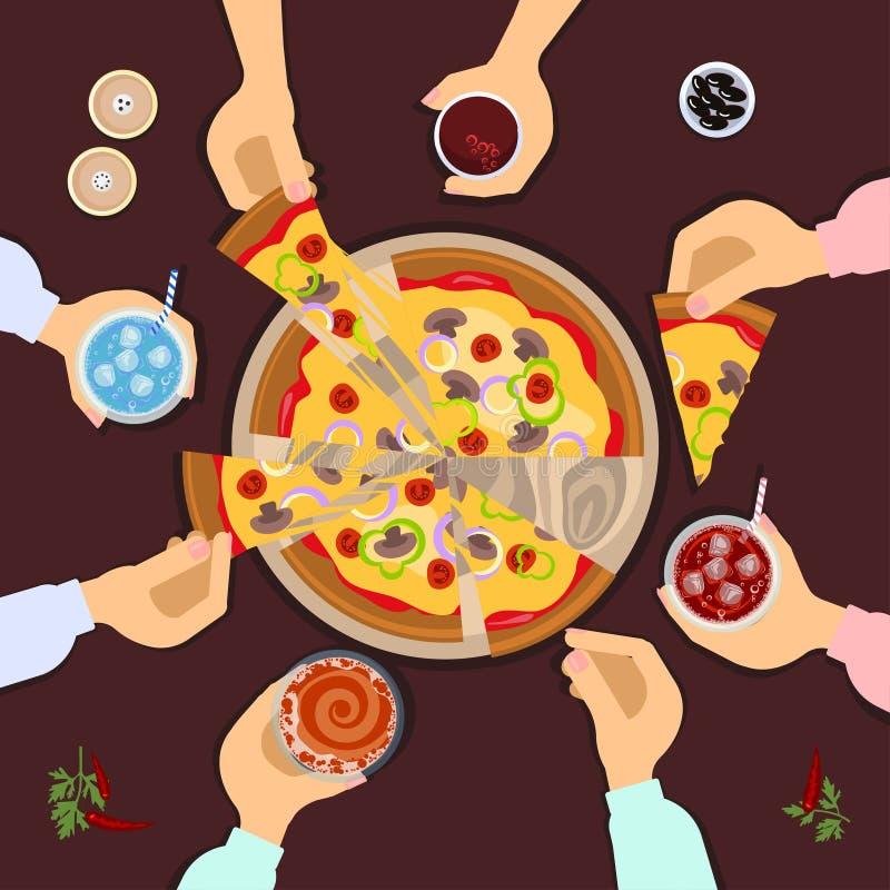 Amis mangeant de la pizza illustration stock