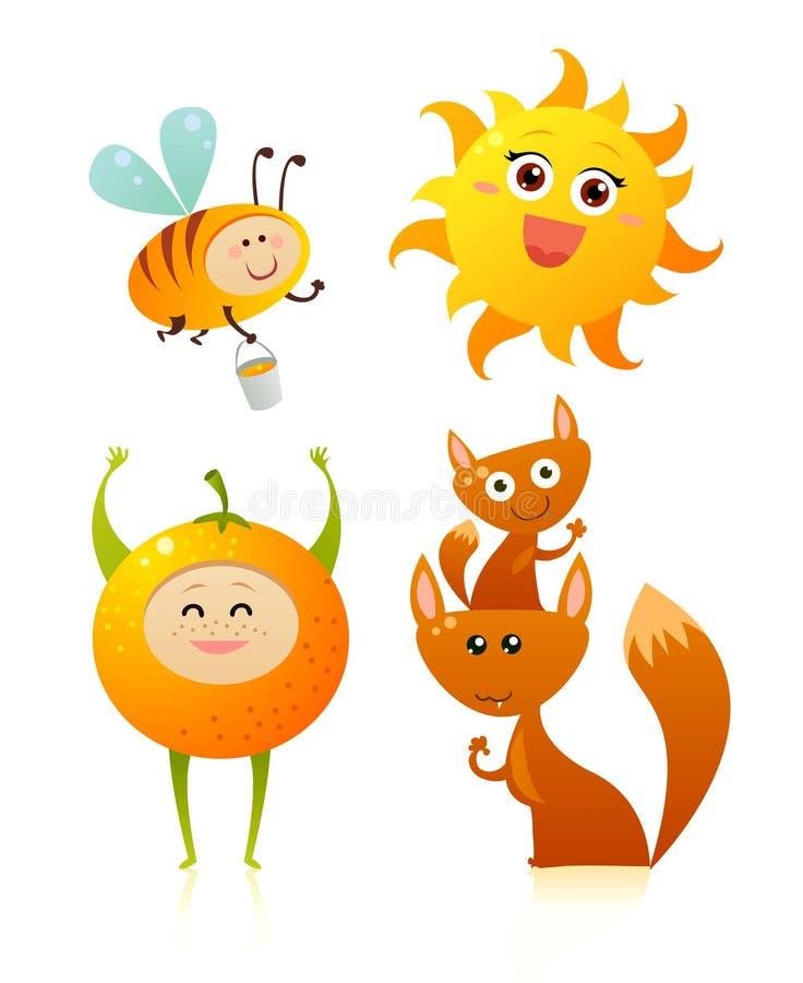 Amis oranges illustration libre de droits
