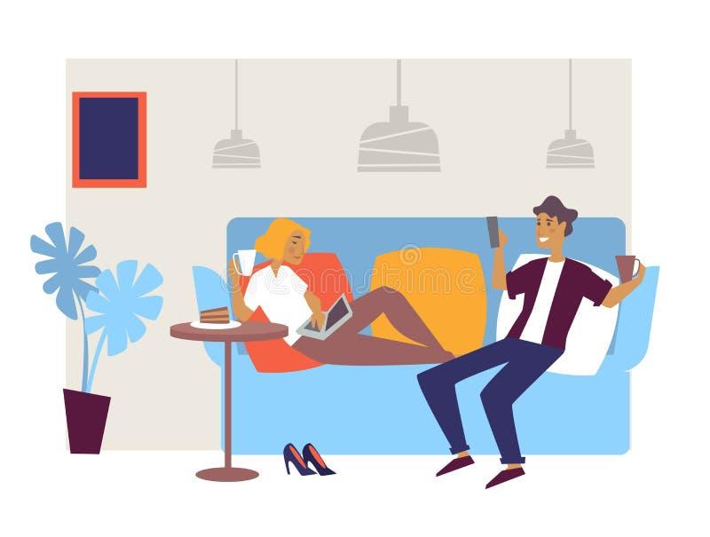 Amis ou couples de conception intérieure de barre ou de café de salon sur le divan illustration libre de droits