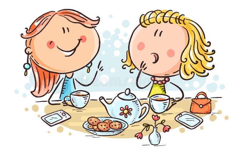 Amis parlant et buvant du thé, illustration de bande dessinée illustration de vecteur