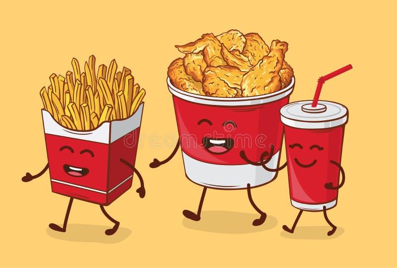 Amis pour toujours Poulet de fritures frit et kola illustration de vecteur