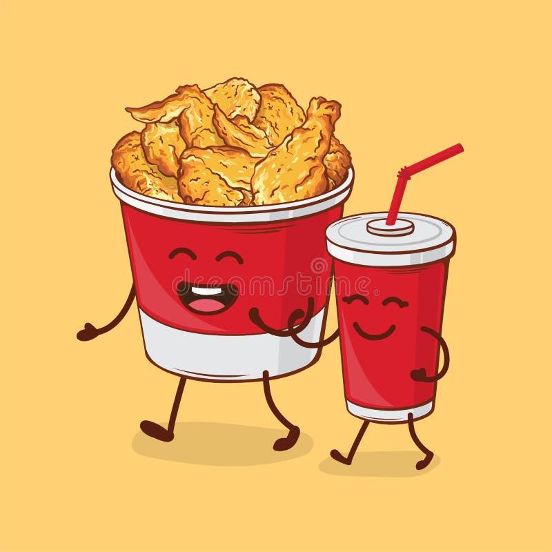 Amis pour toujours Poulet frit et kola illustration libre de droits
