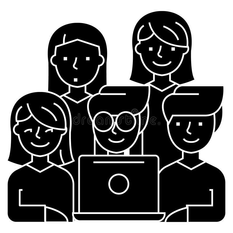 Amis regardant le carnet - 5 personnes icône, illustration de vecteur, noir se connectent le fond d'isolement illustration libre de droits