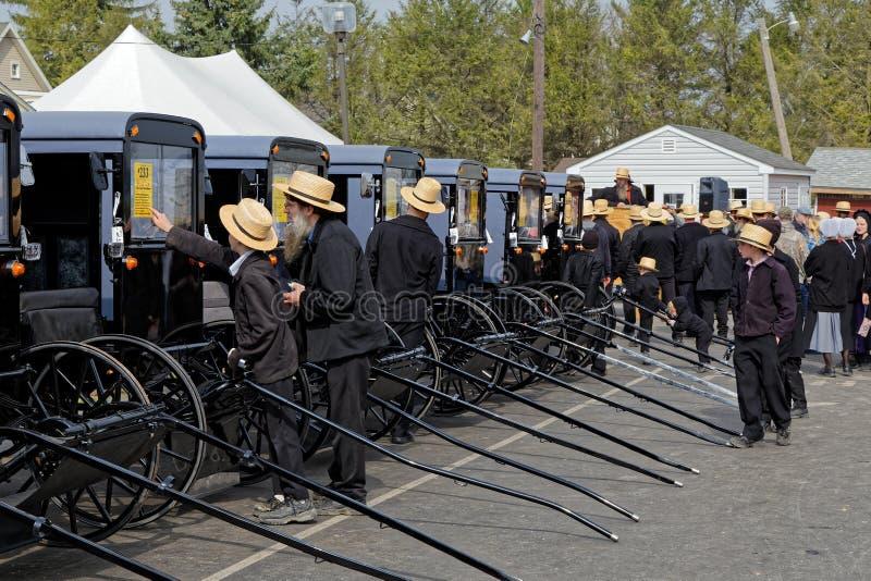 Amische Wagen-Auktion in Lancaster County stockfotos