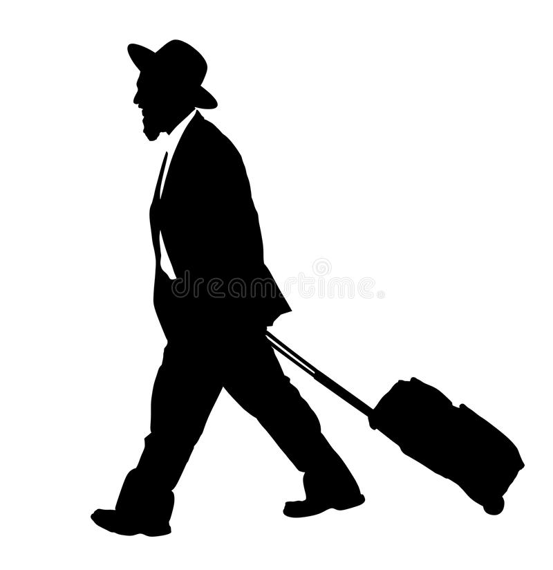 Amischer Mann ist Reihenschattenbildillustration Jüdischer Geschäftsmann Touristischer Mannreisender, der seinen Rollenkoffer trä vektor abbildung