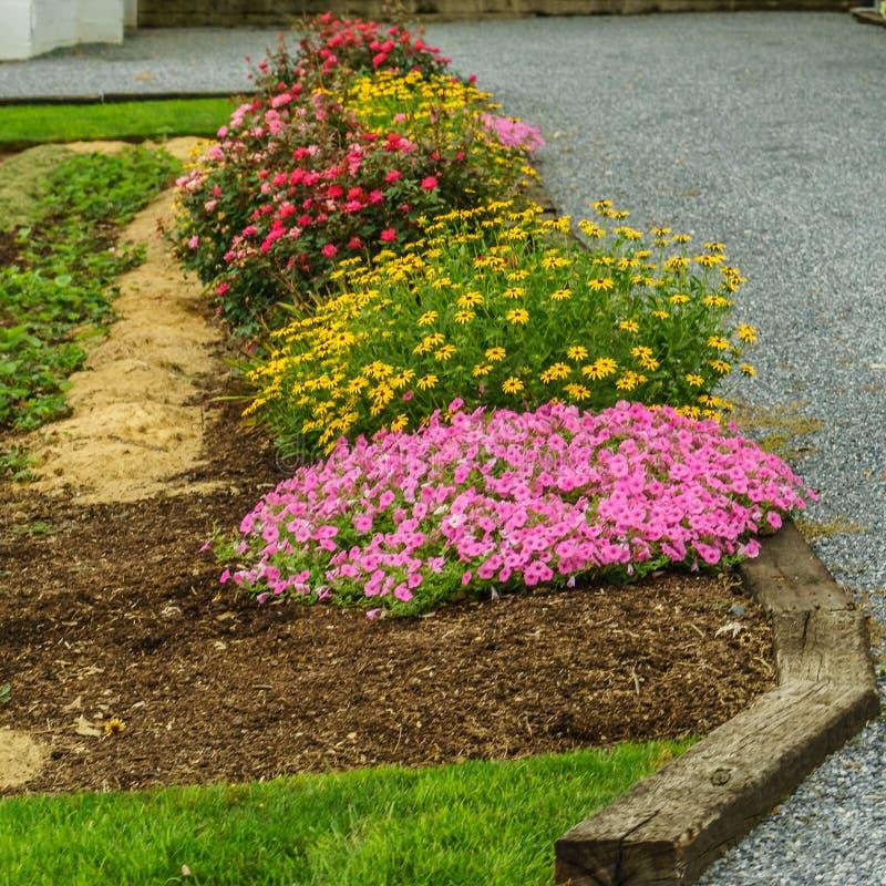 Amisches Landbauernhof Blumenbeet in Lancaster, PA stockfoto