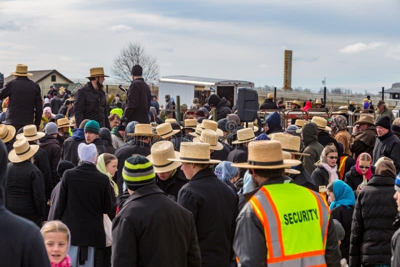 Amish à la vente de boue de la Communauté photographie stock